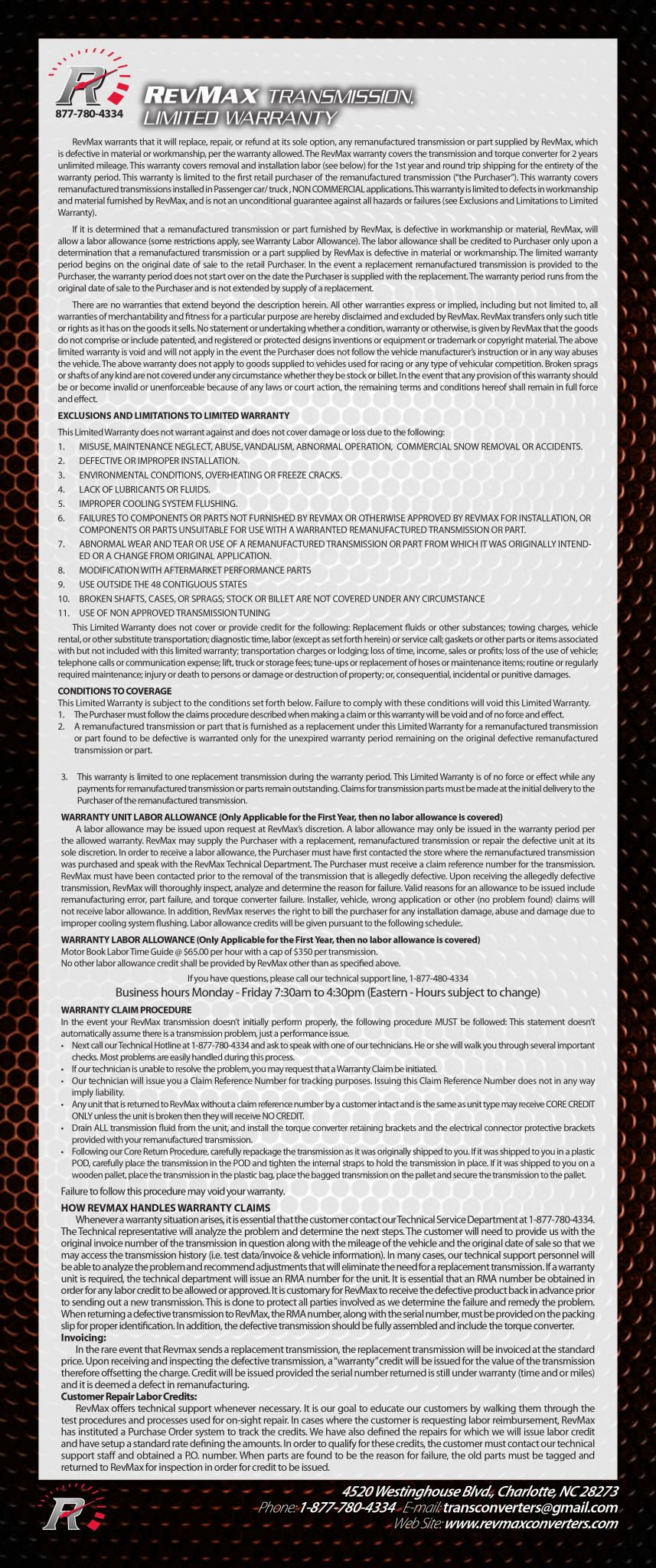Transmissions Warranty | RevMax
